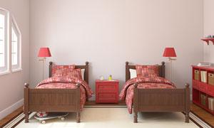 放在房间里的两张小床摄影高清图片