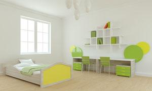 房间书架桌椅与儿童床摄影高清图片