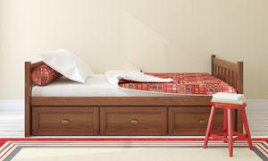 兼顾收纳功能的单人床摄影高清图片