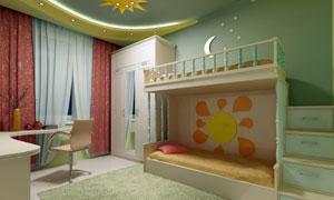 房间书桌椅子与儿童床摄影高清图片