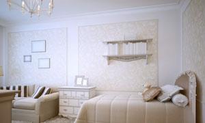 双人床与沙发抽屉柜等效果高清图片