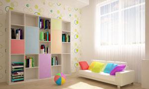 房间书架与沙发抱枕皮球等高清图片