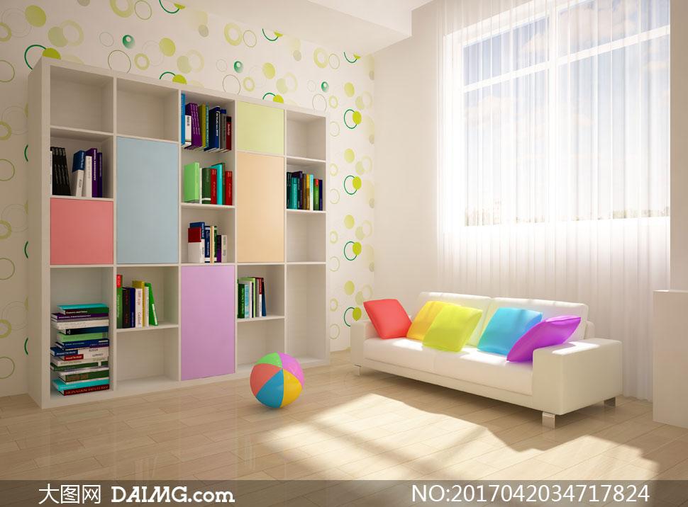 效果图装潢房间儿童房书架皮球木地板沙发抱枕靠枕枕头窗户窗帘窗外