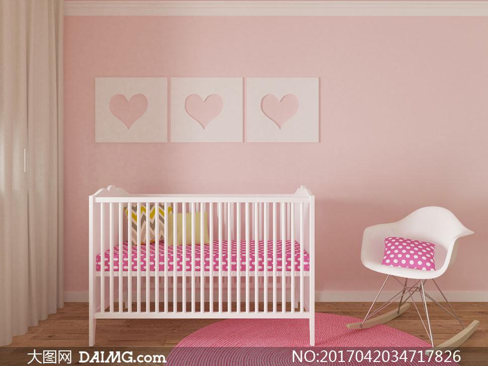 粉色系儿童房内景陈设摄影高清图片