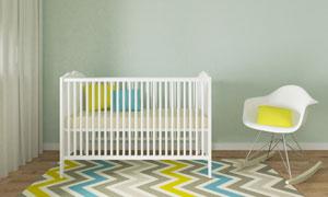 房间儿童床与抱枕摇椅摄影高清图片