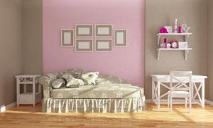 墙上的装饰画与置物架效果展示图片