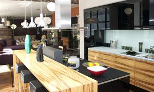 吧台与开放式厨房内景摄影高清图片