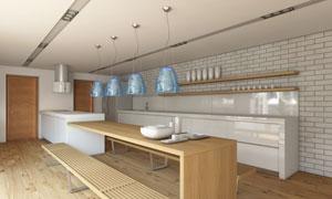 宽敞空间厨房内景布置摄影高清图片