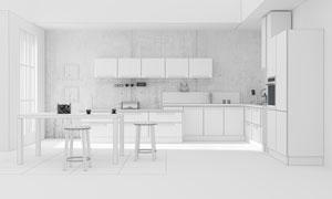 餐桌椅子与厨房的橱柜渲染效果图片