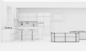 厨房内景陈设与沙发等渲染高清图片