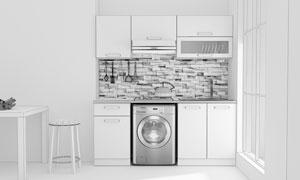 洗衣机与厨房内景渲染效果高清图片