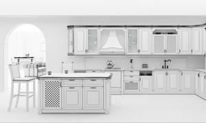 大空间开放式厨房渲染效果高清图片
