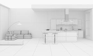 落地灯沙发与厨房渲染效果高清图片