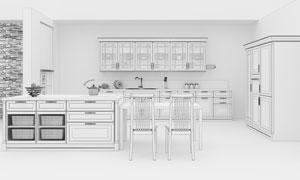 椅子桌子与开放式厨房渲染效果图片