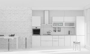 厨房内部装修布置渲染效果高清图片