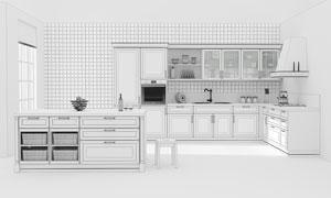 简欧厨房装修效果渲染设计高清图片