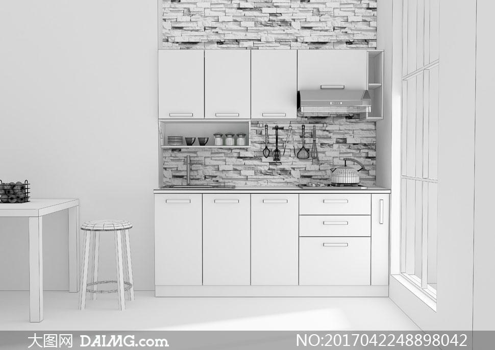 黑白灰色厨房装修渲染效果高清图片