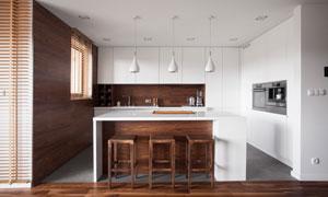 简约风格厨房吧台实景装修效果图片