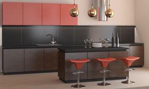 厨房橱柜与金色的吊灯摄影高清图片