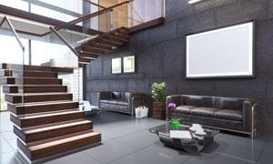 复式结构房间内的沙发家具高清图片