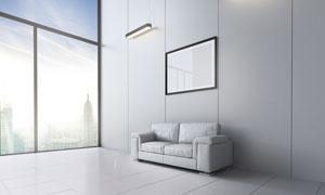 沙发装饰画与设计感的吊灯高清图片