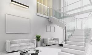 房间沙发绿植与空白装饰画高清图片