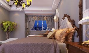 欧式装修风格卧室渲染效果高清图片