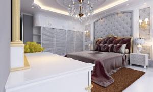 欧式豪华布置卧室实景效果高清图片