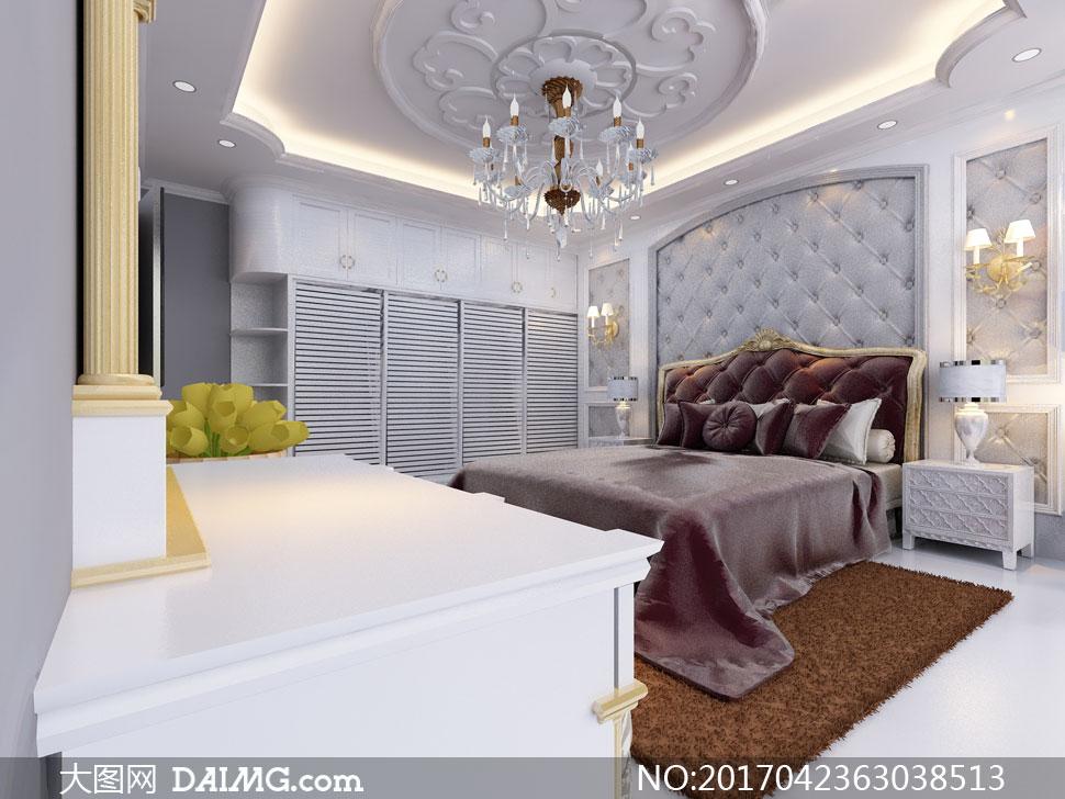 欧式豪华布置卧室实景效果高清图片 - 大图网设计素材