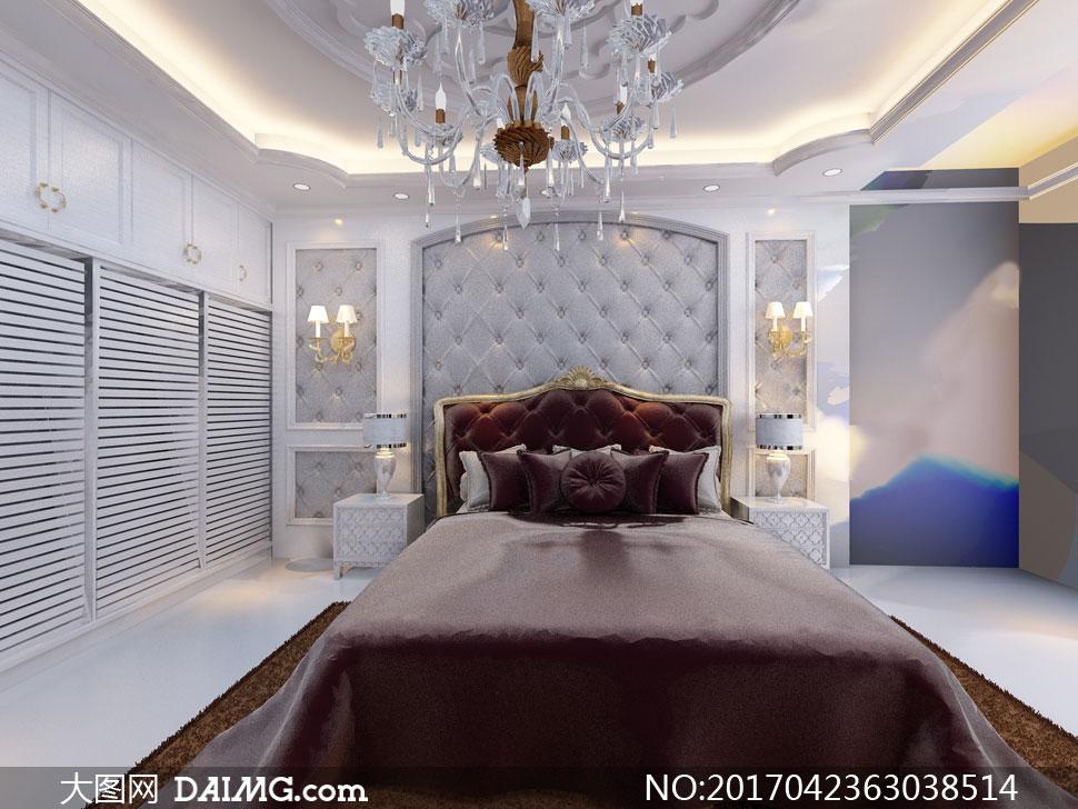 卧室灯光照明吊顶吊灯衣柜衣橱枕头大床双人床台灯床头柜地毯壁灯欧式
