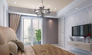 卧室里的床与电视机电视柜高清图片