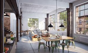 客厅沙发与餐厅桌椅等陈设高清图片