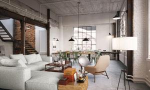 LOFT空间客厅餐厅布置效果高清图片