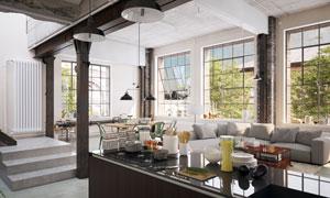 沙发与厨房操作台上的什物高清图片