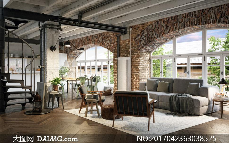 房间客厅沙发与餐厅等陈设高清图片