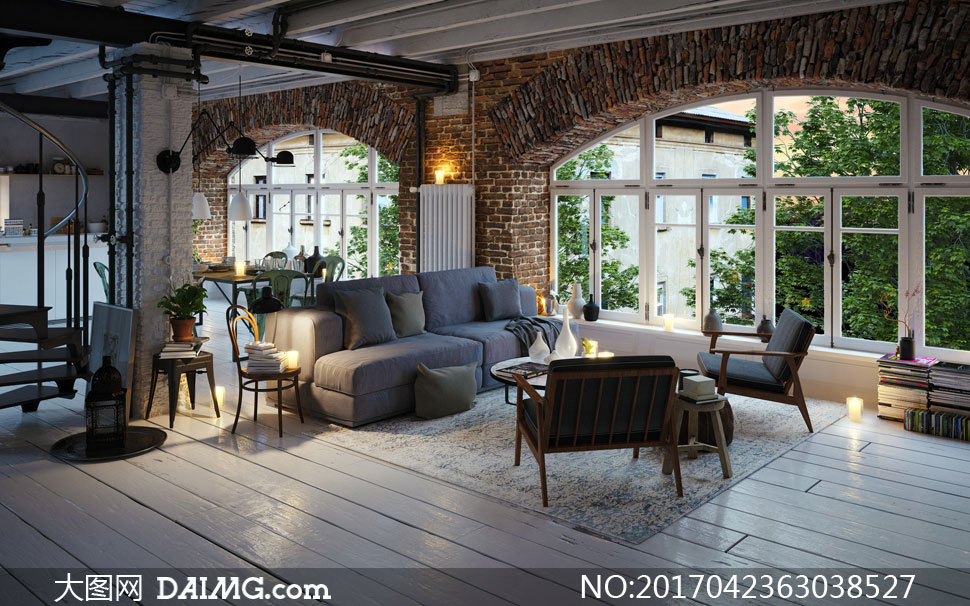 餐厅桌椅客厅布艺沙发组合高清图片