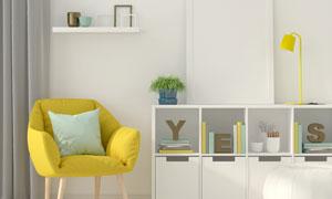 置物架装饰画与单人座沙发高清图片