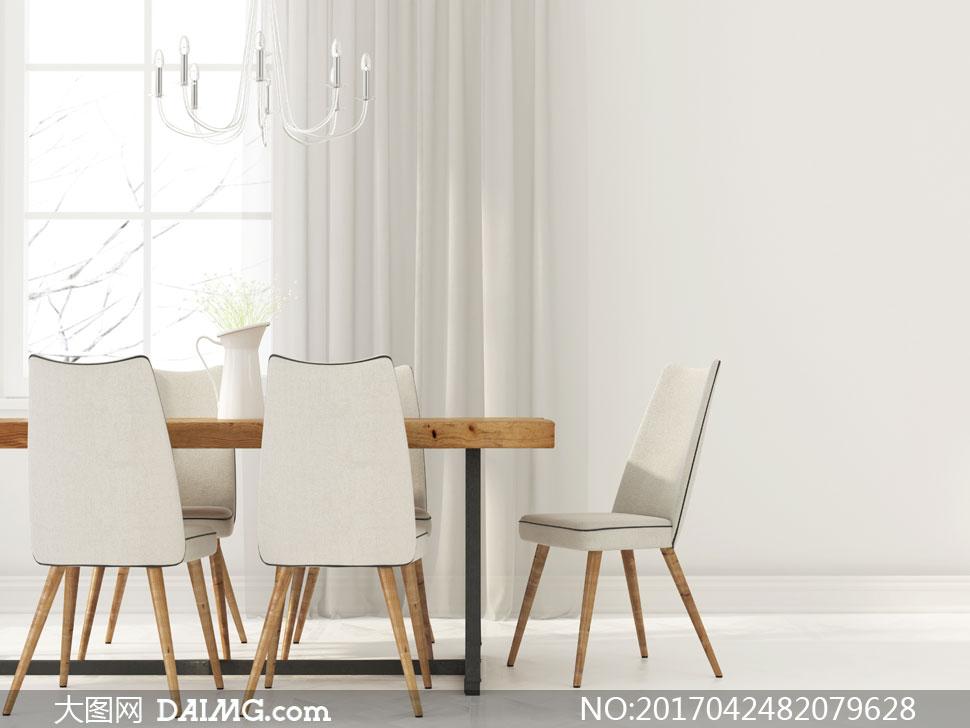 家装渲染图家居家具装修效果图装潢房间窗户窗帘吊灯餐厅桌子椅子餐桌