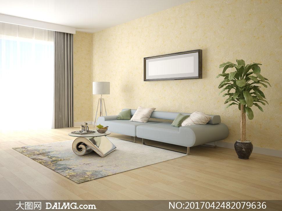 房间内的沙发茶几与绿植等高清图片