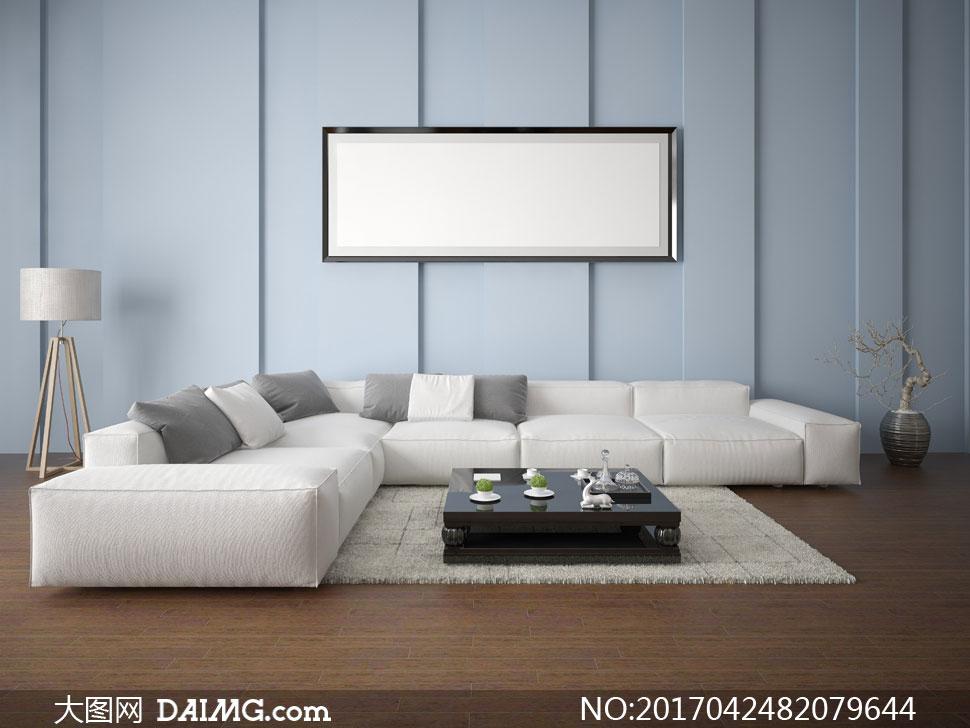 沙发枕头抱枕靠枕木地板空白白色装饰画挂画画框落地灯地毯地垫茶几
