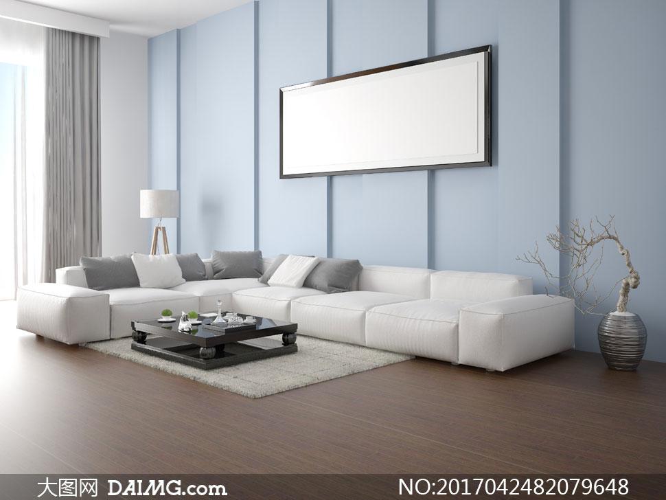 沙发枕头抱枕靠枕木地板空白白色装饰画挂画画框落地灯地毯地垫干枝