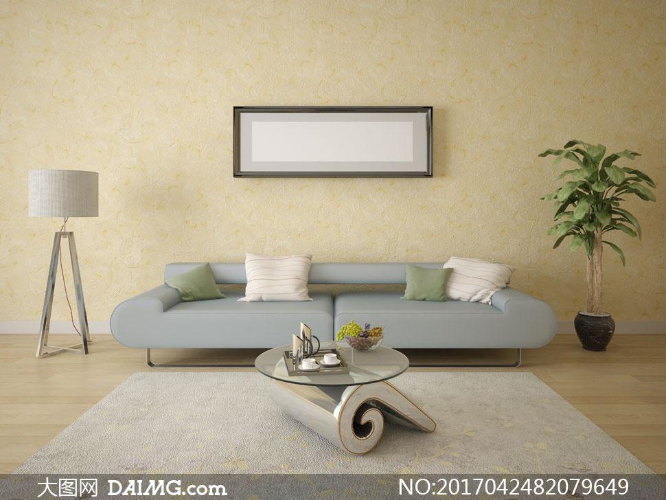 沙发枕头抱枕靠枕木地板空白白色装饰画挂画画框落地灯地毯地垫植物