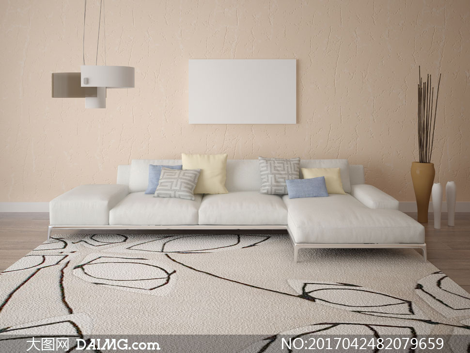 沙发空白白色装饰画挂画无框画吊灯灯具木地板艺术品装饰品地毯地垫