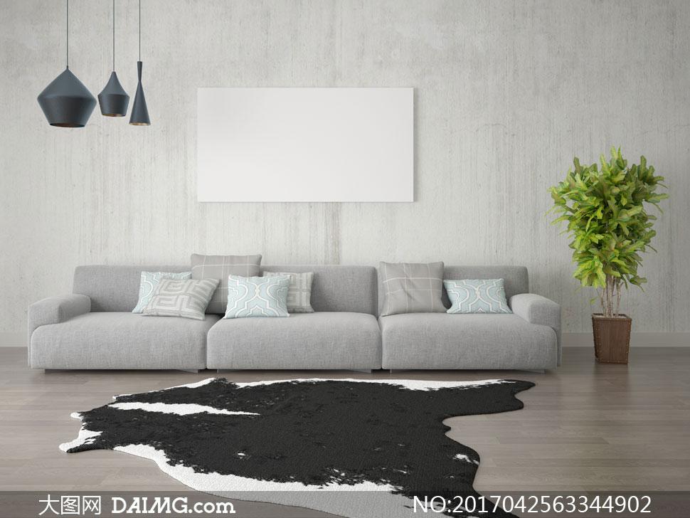 沙发木地板装饰画挂画画框无框画空白吊灯灯具地毯地垫枕头靠枕抱枕植