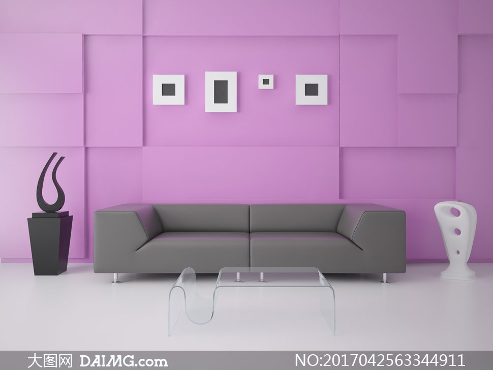 沙发茶几与客厅背景墙摄影高清图片