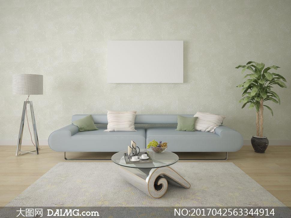落地灯沙发茶几与室内植物高清图片