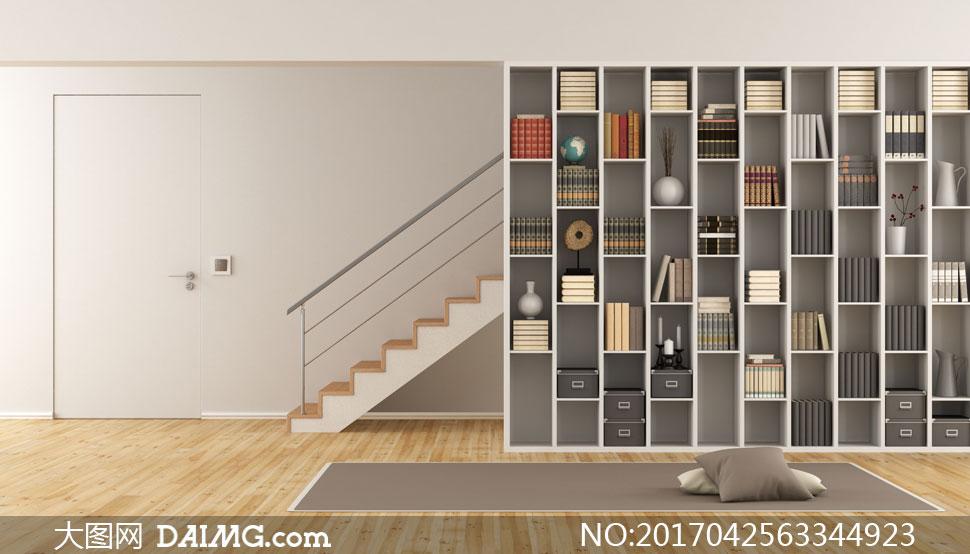 渲染图家居家具装修效果图装潢房间木地板枕头房门楼梯书架书籍书柜