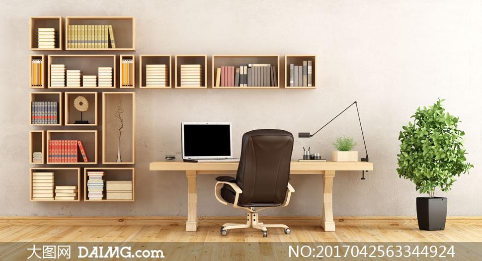 房间里的书桌与书架等摄影高清图片