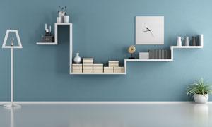 墙上的创意造型置物架摄影高清图片