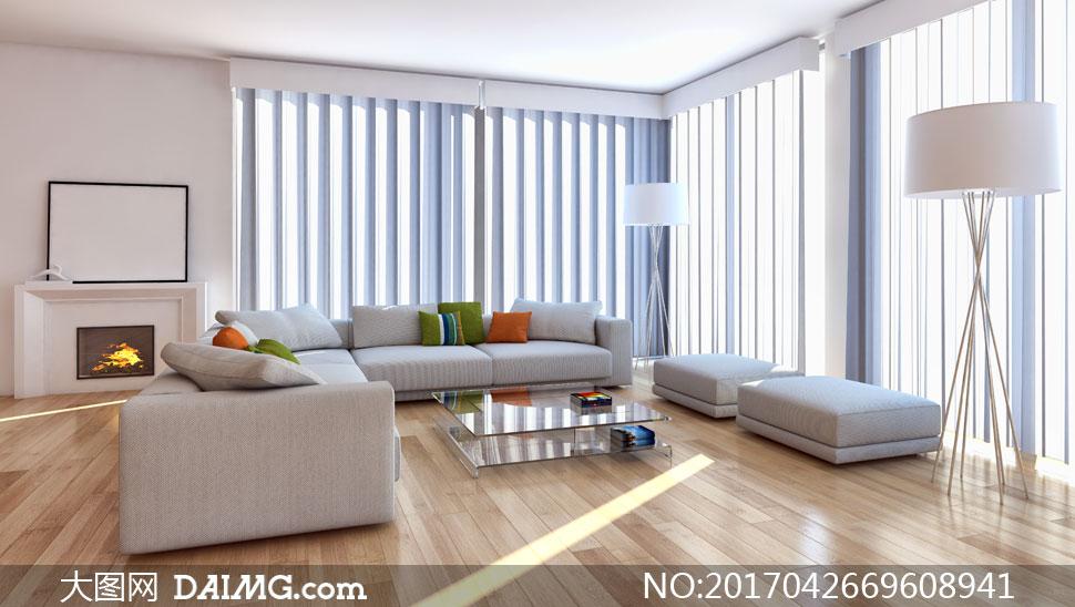 客厅落地灯沙发凳茶几沙发壁炉白色空白枕头抱枕靠枕木地板窗帘落地窗